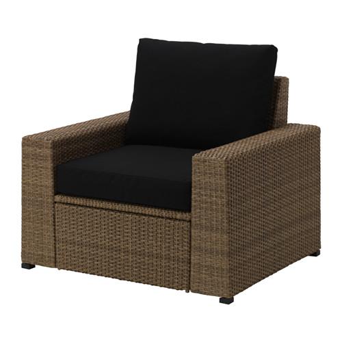 【IKEA/イケア/通販】 SOLLERÖN アームチェア 屋外用, ブラウン, クングソー ブラック(a)(S19241518)