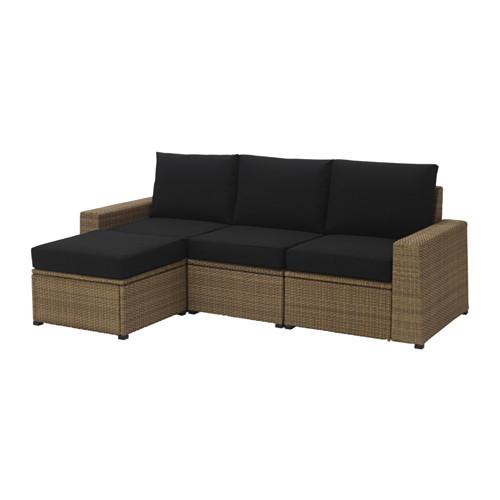【IKEA/イケア/通販】 SOLLERÖN 3人掛けソファ フットスツール付き 屋外用, ブラウン, クングソー ブラック(a)(S29241457)