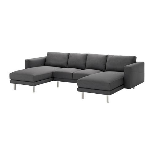 【IKEA/イケア/通販】 NORSBORG 4人掛けソファ, 寝椅子付き, フィーンスタ ダークグレー/メタル(a)(S09242231)