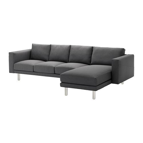 【IKEA/イケア/通販】 NORSBORG 4人掛けソファ, 寝椅子付き, フィーンスタ ダークグレー/メタル(a)(S29242249)