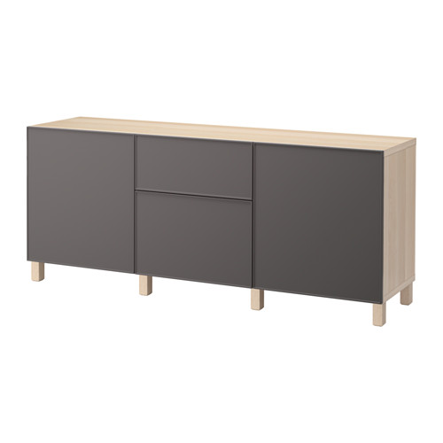【IKEA/イケア/通販】 BESTÅ 収納コンビネーション 引き出し付, ホワイトステインオーク調, グルンドスヴィーケン ダークグレー(a)(S29205039)