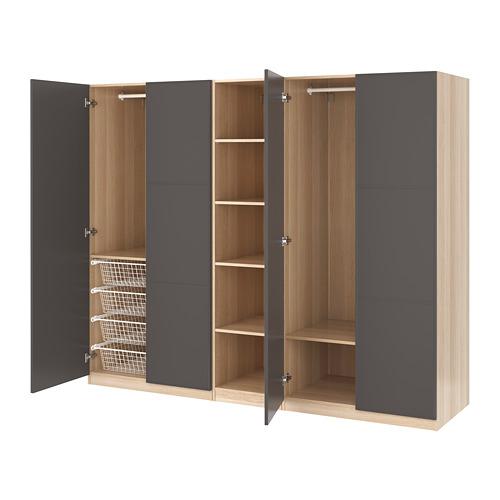 【IKEA/イケア/通販】 PAX ワードローブ, ホワイトステインオーク調, メールオーケル ダークグレー(a)(S19251814)