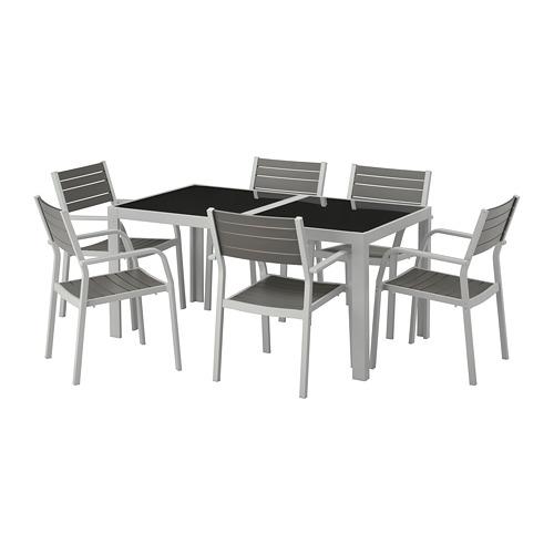 【IKEA/イケア/通販】 SJÄLLAND テーブル+チェアアームレスト付き6 屋外用, ガラス グレー, ライトグレー(a)(S29265207)
