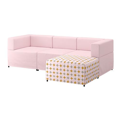 【IKEA/イケア/通販】 KUNGSHAMN 3人掛けモジュールソファ, イーデクッラ ピンク, イッテレード マルチカラー マルチカラー(a)(S49251389)