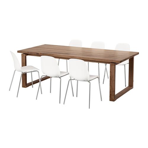 【IKEA/イケア/通販】 MÖRBYLÅNGA / LEIFARNE テーブル&チェア6脚, ブラウン, ホワイト(a)(S69251406)