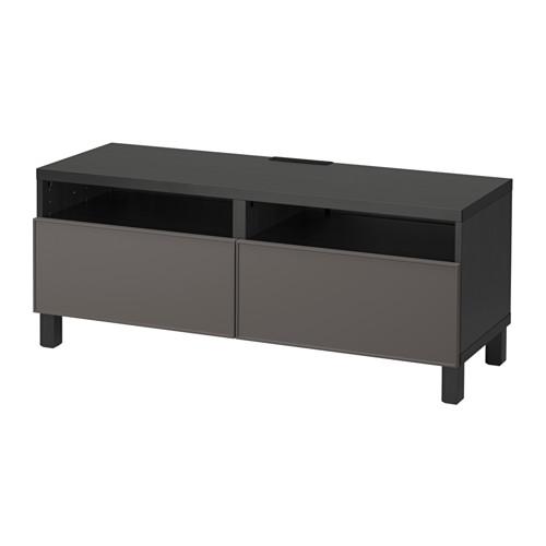 【IKEA/イケア/通販】 BESTÅ テレビ台 引き出し付き, ブラックブラウン, グルンドスヴィーケン ダークグレー(a)(S59198339)