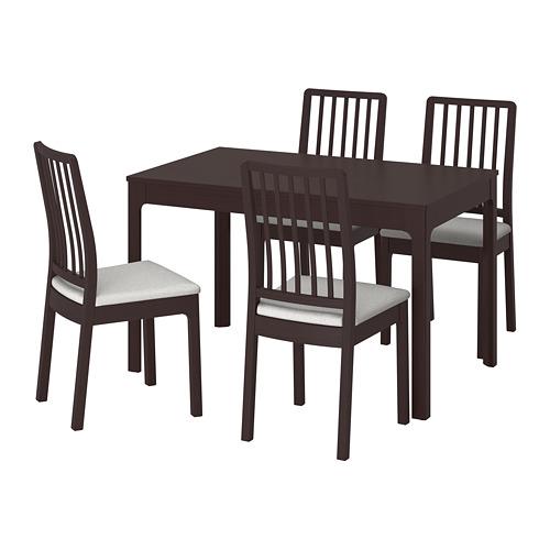 【IKEA/イケア/通販】 EKEDALEN / EKEDALEN テーブル&チェア4脚, ダークブラウン, オッルスタ ライトグレー(a)(S49221279)