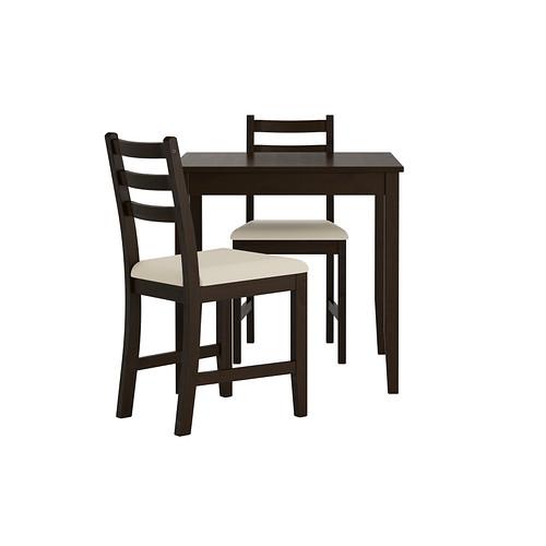 【IKEA/イケア/通販】 LERHAMN テーブル&チェア2脚, ブラックブラウン, ヴィッタリード ベージュ(b)(S39251177)