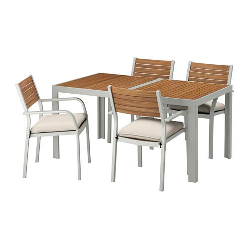 【IKEA/イケア/通販】 SJÄLLAND テーブル+チェアアームレスト付き4 屋外用, ライトブラウン, フローソーン/デューヴホルメン ベージュ(a)(S69265494)