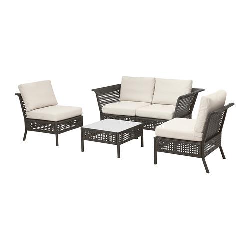 【IKEA/イケア/通販】 KUNGSHOLMEN 4人用ソファセット 屋外用, ブラックブラウン, フローソーン/デューヴホルメン ベージュ(S39258027)