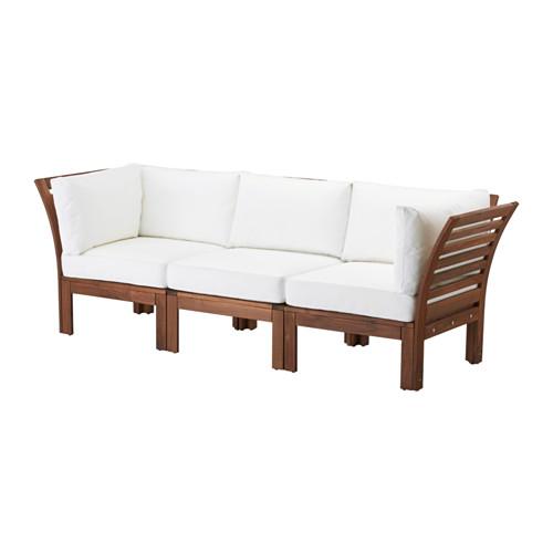 【IKEA/イケア/通販】 ÄPPLARÖ 3人掛けソファ 屋外用, ブラウンステイン, ホワイト クングソー ホワイト(a)(S39227540)