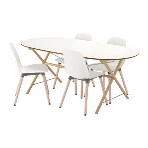 【IKEA/イケア/通販】 SLÄHULT/DALSHULT / LEIFARNE テーブル&チェア4脚, バーチ, ホワイト(a)(S39251238)