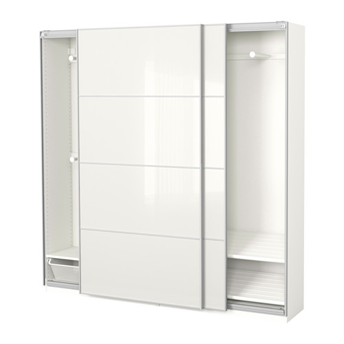 【IKEA/イケア/通販】 PAX ワードローブ, ホワイト, フェールヴィーク ホワイトガラス(a)(S49167036)