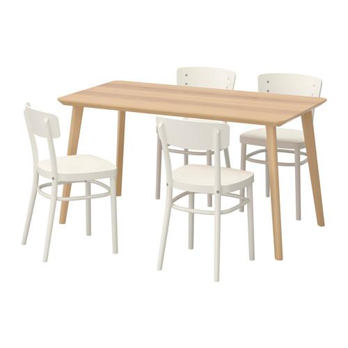 【IKEA/イケア/通販】 LISABO / IDOLF テーブル&チェア4脚, アッシュ材突き板, ホワイト(a)(S39251182)