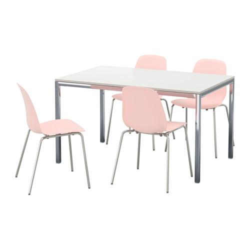 【IKEA/イケア/通販】 TORSBY / LEIFARNE テーブル&チェア4脚, ハイグロス ホワイト, ピンク(c)(S69219534)