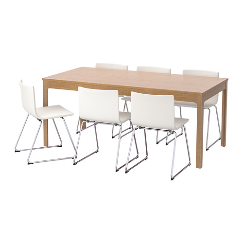 【IKEA/イケア/通販】 EKEDALEN / BERNHARD テーブル&チェア6脚, オーク, ミューク ホワイト(S69221424)