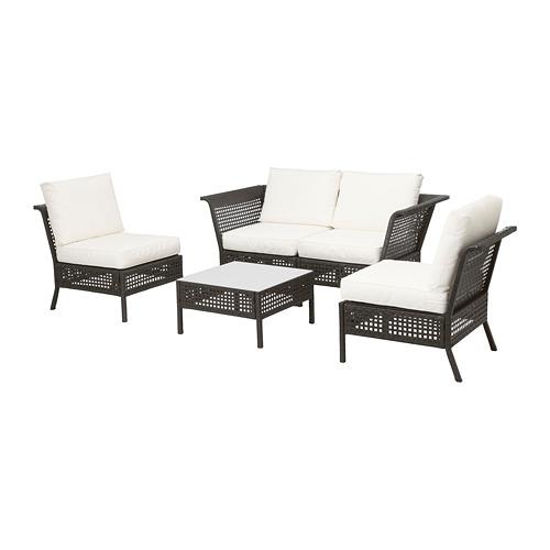 【IKEA/イケア/通販】 KUNGSHOLMEN 4人用ソファセット 屋外用, ブラックブラウン, クングソー ホワイト(a)(S69227609)