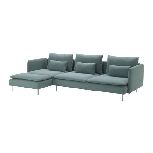【IKEA/イケア/通販】 SÖDERHAMN 4人掛けソファ, 寝椅子付き フィーンスタ, フィーンスタ ターコイズ(a)(S69136237)