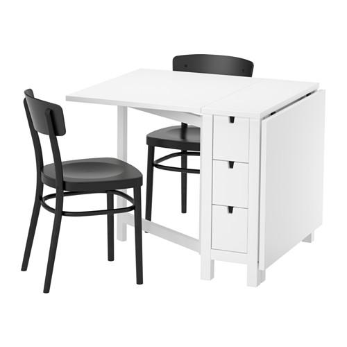 【IKEA/イケア/通販】 NORDEN / IDOLF テーブル&チェア2脚, ホワイト, ブラック(a)(S39251219)
