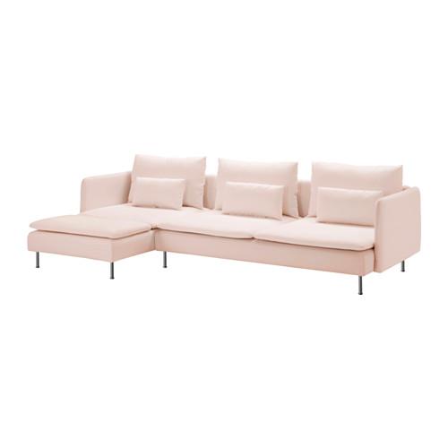 【IKEA/イケア/通販】 SÖDERHAMN 4人掛けソファ, サムスタ 寝椅子付き, サムスタ ライトピンク(b)(S49151318)