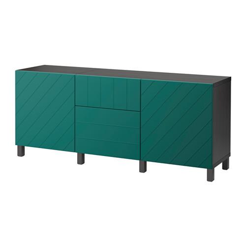 【IKEA/イケア/通販】 BESTÅ 収納コンビネーション 引き出し付, ブラックブラウン, ハルスタヴィーク ブルーグリーン(a)(S39206316)