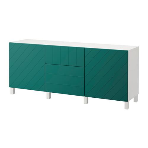 【IKEA/イケア/通販】 BESTÅ 収納コンビネーション 引き出し付, ホワイト, ハルスタヴィーク ブルーグリーン(a)(S39206321)