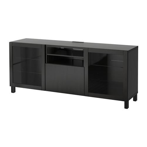 【IKEA/イケア/通販】 BESTÅ テレビ台 引き出し付き, ラップヴィーケン, シンドヴィーク ブラックブラウンクリアガラス(a)(S59186398)