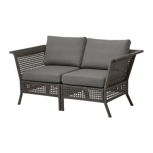 【IKEA/イケア/通販】 KUNGSHOLMEN 2人掛けソファ 屋外用, ブラックブラウン, フローソーン/デューヴホルメン ダークグレー(S49257857)