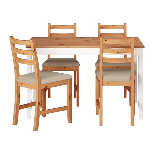 【IKEA/イケア/通販】 LERHAMN テーブル&チェア4脚, ライトアンティークステイン, ヴィッタリード ベージュ(a)(S79251180)