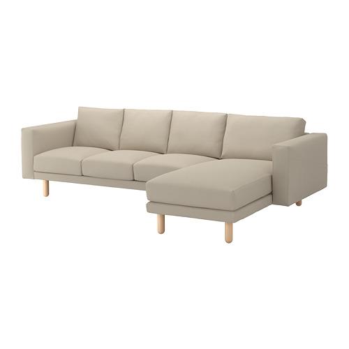 【IKEA/イケア/通販】 NORSBORG 4人掛けソファ, 寝椅子付き エードゥム, バーチ エードゥム ベージュ/バーチ(a)(S89240030)
