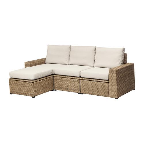 【IKEA/イケア/通販】 SOLLERÖN 3人掛けソファ フットスツール付き 屋外用, ブラウン, フローソーン/デューヴホルメン ベージュ(a)(S99252683)