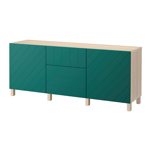 【IKEA/イケア/通販】 BESTÅ 収納コンビネーション 引き出し付, ホワイトステインオーク調, ハルスタヴィーク ブルーグリーン(a)(S79206324)