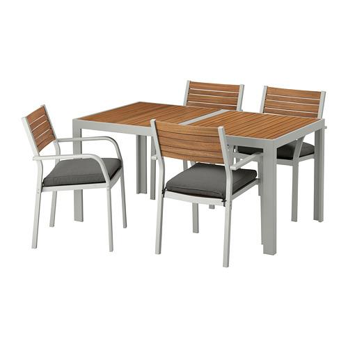 【IKEA/イケア/通販】 SJÄLLAND テーブル+チェアアームレスト付き4 屋外用, ライトブラウン, フローソーン/デューヴホルメン ダークグレー(a)(S99265609)