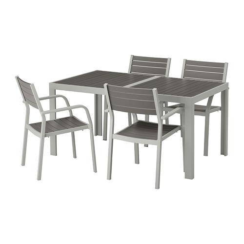 【IKEA/イケア/通販】 SJÄLLAND シェランド テーブル+チェアアームレスト付き4 屋外用, ダークグレー, ライトグレー(S99265015)
