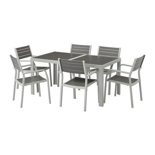 【IKEA/イケア/通販】 SJÄLLAND テーブル+チェアアームレスト付き6 屋外用, ダークグレー, ライトグレー(a)(S99265204)