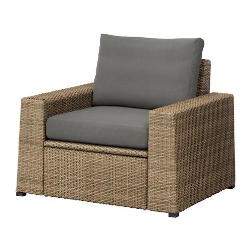 【IKEA/イケア/通販】 SOLLERÖN アームチェア 屋外用, ブラウン, フローソーン/デューヴホルメン ダークグレー(S79252523)