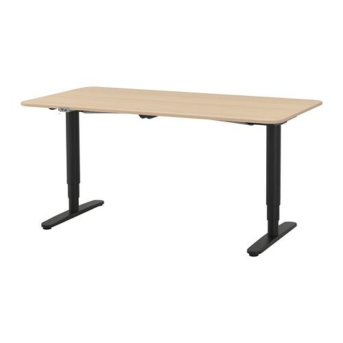 【IKEA/イケア/通販】 BEKANT ベカント デスク 昇降式, ホワイトステインオーク材突き板, ブラック(a)(S39281829)【代引不可商品】