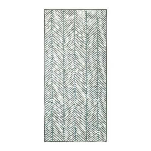 【IKEA/イケア/通販】 OMTÄNKSAM オムテンクサム ラグ 平織り, グリーン, ライトグレー(60424973)