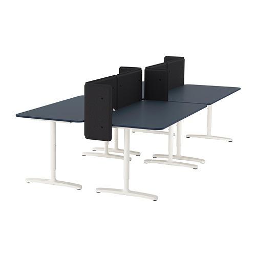 【IKEA/イケア/通販】 BEKANT ベカント デスク スクリーン付き, リノリウム ブルー, ホワイト(S49288076)【代引不可商品】