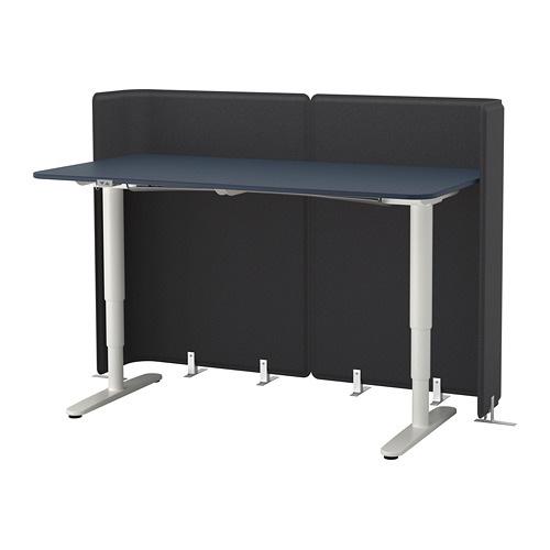 【IKEA/イケア/通販】 BEKANT ベカント レセプションデスク 電動昇降式, リノリウム ブルー, ホワイト(S29288275)
