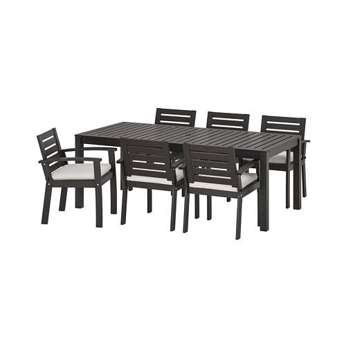 【IKEA/イケア/通販】 KLÖVEN クロ―ヴェン テーブル+チェアアームレスト付き6 屋外用, ブラックブラウン, フローソーン/デューヴホルメン ベージュ(S29295105)