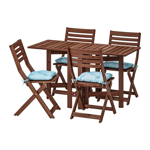 【IKEA/イケア/通販】 ÄPPLARÖ エップラロー テーブル+折りたたみチェア4 屋外用, ブラウンステイン, クッダルナ ライトブルー ブルー(S99290091)