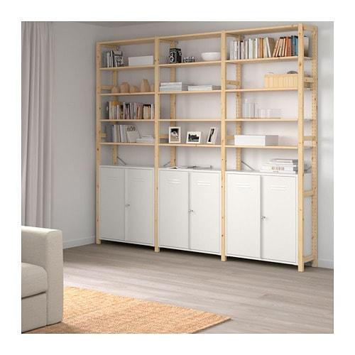 【IKEA/イケア/通販】 IVAR イーヴァル 3セクション/キャビネット/棚板, パイン材, ホワイト(a)(S49248212)