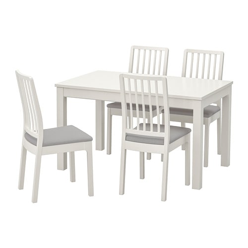 【IKEA/イケア/通販】 LANEBERG レインベリ / EKEDALEN エーケダーレン テーブル&チェア4脚, ホワイト, ホワイト ライトグレー(a)(S49304793)