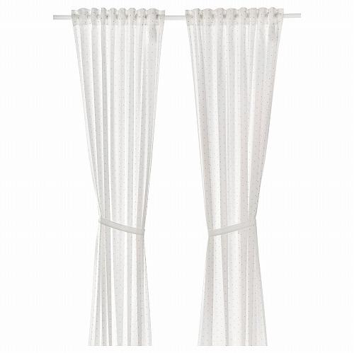 新商品 IKEA イケア 子供家具 ベビー家具 ベビーグッズ ベビーテキスタイル 通販 LEN レーン 120x250 タッセル付き 1組 カーテン ホワイト B cm 高品質新品 90457636 水玉模様
