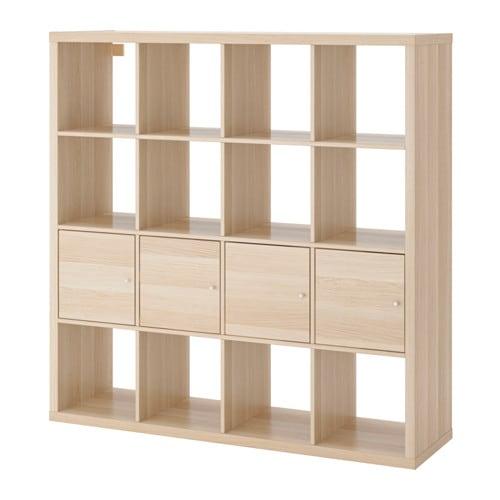 【IKEA/イケア/通販】 KALLAX カラックス シェルフユニット インサート4個付き, ホワイトステインオーク調(a)(S09197422)