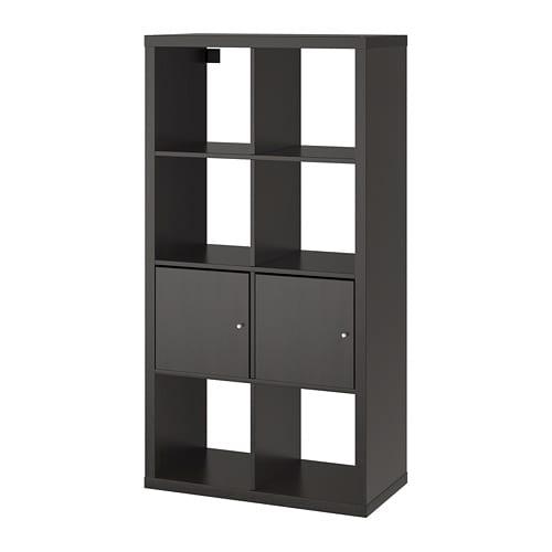 【IKEA/イケア/通販】 KALLAX カラックス シェルフユニット 扉付き, ブラックブラウン(a)(S29197440)【代引不可商品】