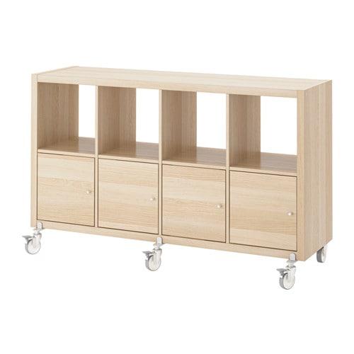 【IKEA/イケア/通販】 KALLAX カラックス シェルフユニット/扉4/キャスター, ホワイトステインオーク調(c)(S79197428)