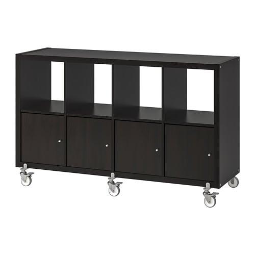 【IKEA/イケア/通販】 KALLAX カラックス シェルフユニット/扉4/キャスター, ブラックブラウン(a)(S89197437)
