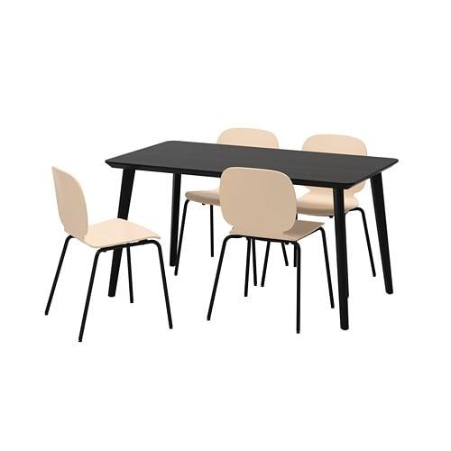 【IKEA/イケア/通販】 LISABO リーサボー / SVENBERTIL スヴェンベルティル テーブル&チェア4脚, ブラック, バーチ(a)(S59252185)